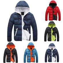 Fashion Winter Men Jacket Coat Color Block Zipper Hooded Cotton Padded Coat Warm