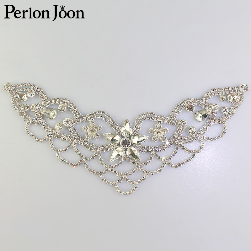 1pcs DIY welding Crystal patch Rhinestone Neckline for the wedding dress hand sewing Clothing Accessories YL008(China)