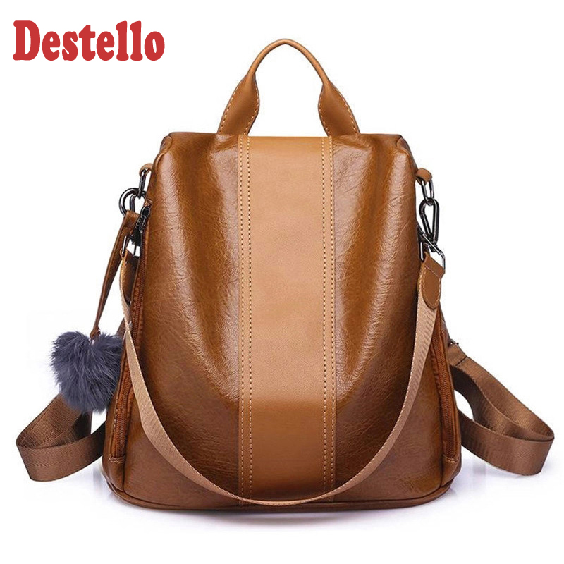 2020 New Fashion Women Backpack Vintage Leather Backpacks For Teenager Girls Preppy School Bagpack Female Travel Bags Mochila