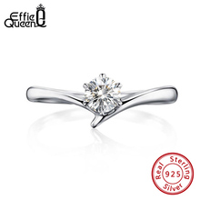 Effie Queen Trendy Female Engagement Rings with Big Crystal Stone AAAA  Zircon  925 Silver Finger Ring  Jewelry Party Gift BR192 effie queen trendy big charming women ring 196 pieces zircons paved smoothly real luxury crystal finger ring for party dr123