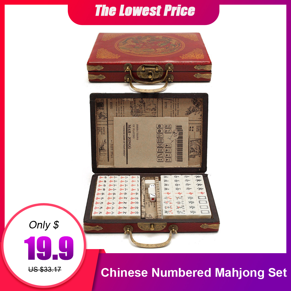 Mah-Jong Chinese Numbered Mahjong Set 144 Tiles Mah-Jong Set Portable Chinese Toy With Box  Party Gambling Game Board