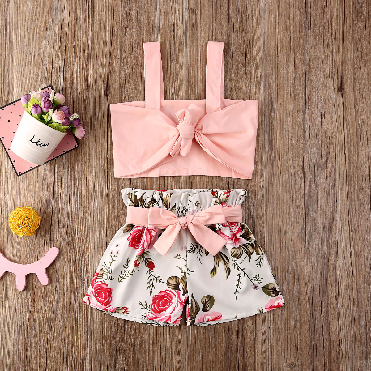 Emmababy Toddler Baby Girl Clothes Summer Solid Color Strap Crop Tops Flower Print Shorts 2Pcs Outfits Casual Clothes Set