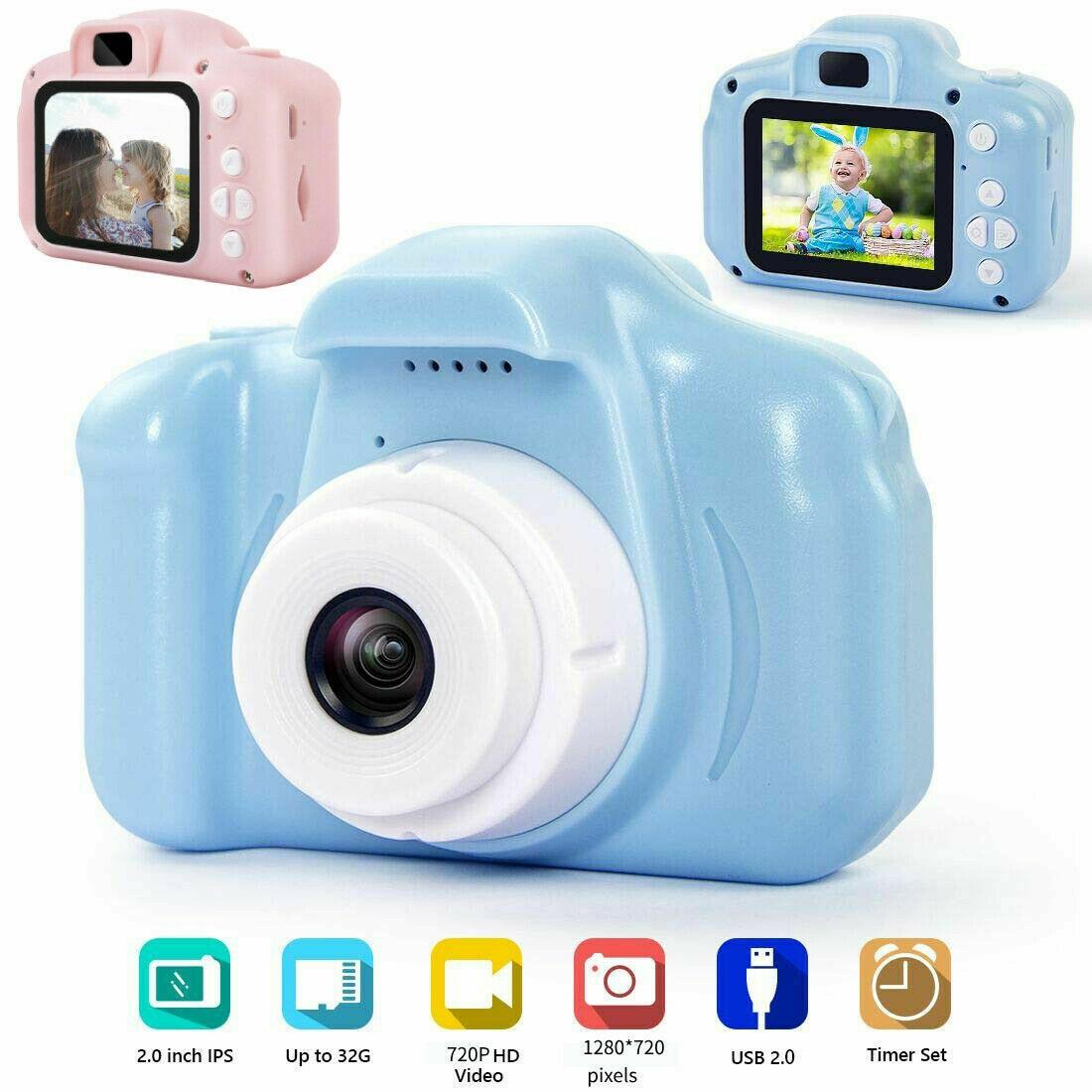 Children Mini Video Camera 2.0'' Digital Photo Camera 1080P HD Photography Camera For Boys Girls Birthday Gift W/32G Memory Card