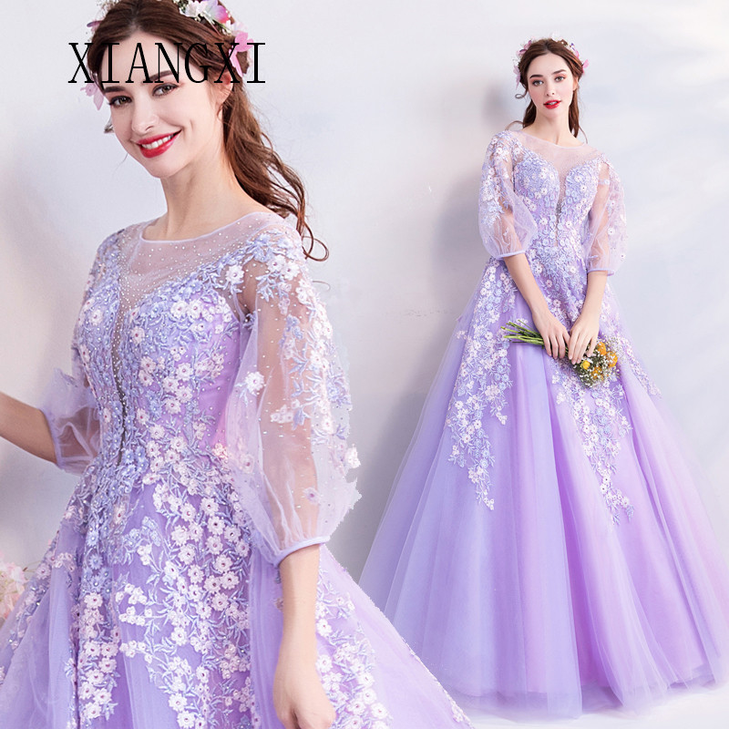 Light Purple Evening Dresses Long Formal Party Gowns Lace Appliques Full Sleeves Prom Dress Formal Party Gowns Vestido De Festa