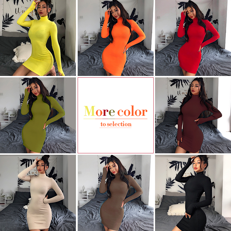 InstaHot Turtleneck Long Sleeve Skinny Mini Dress Women Autumn Sexy Sporting Style Dresses 4 Color Bodycon Slim Yellow Clubwear