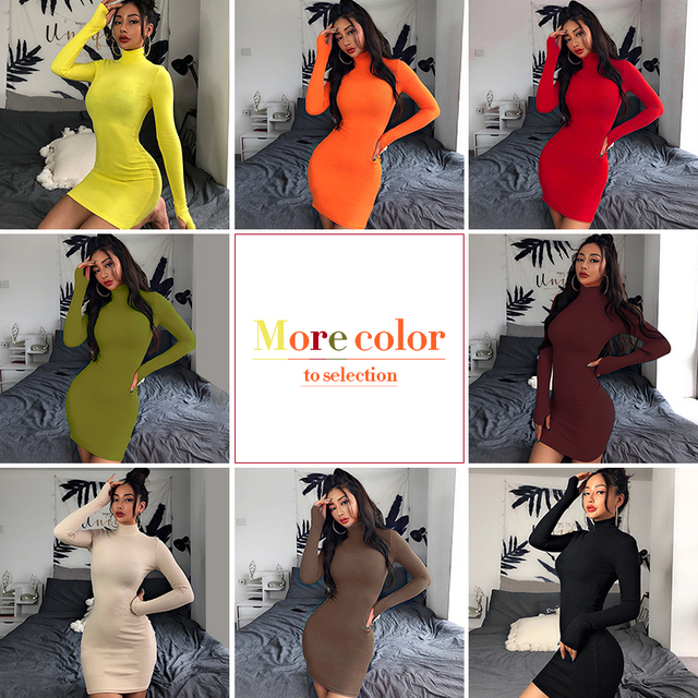 Turtleneck Long Sleeve Skinny Mini Dress Kendall Jenner Outfits Sporting Dresses 4 Color Bodycon Slim Yellow Clubwear 6
