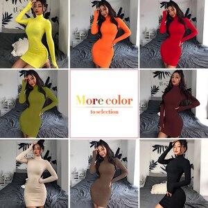 Image 5 - InstaHot Turtleneck Long Sleeve Skinny Mini Dress Women Autumn Sexy Sporting Style Dresses 4 Color Bodycon Slim Yellow Clubwear