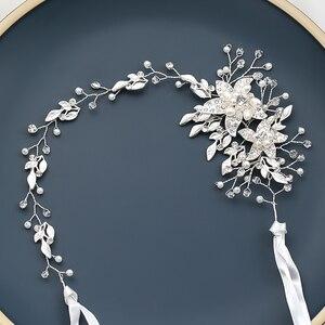 Image 4 - אופנה החדש אופנה חתונה כלה שיער אביזרי פרל ריינסטון מצנפות בגימור זהב כסף צבע שיער תכשיטי עבור נשים