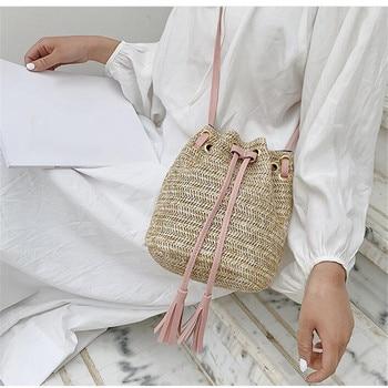 bucket shaped straw tote bag Drawstring Women's Straw Bucket Bag Summer Woven Shoulder Bags Shopping Purse Beach Handbag Straw Handbags Travel Bag