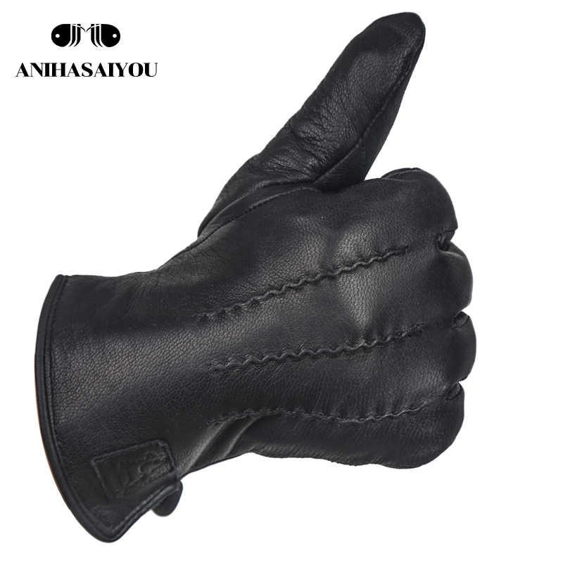 シンプルな男性手袋、ウール厚手裏地レザーグローブ男性、シープスキンメンズ革手袋、屋外メンズ冬の手袋-8001