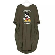 2019 Fashion Dresses Women Mickey Cartoon Print Clothes Plus Size Mini Dress Casual Clothing Fall Female Party Black