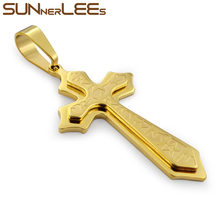 SUNNERLEES 316L Stainless Steel Jesus Christ Cross Pendant Necklace Byzantine Link Chain Silver Gold Black Men Boys Gift SP209(China)