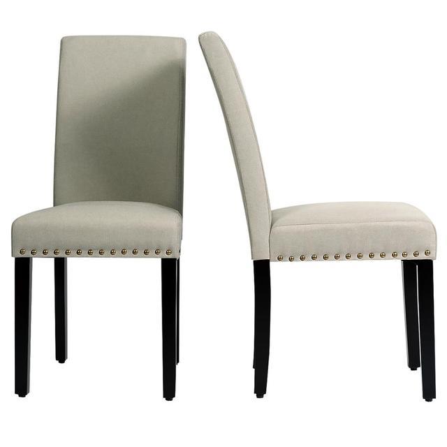 2 Fabric Dining Chairs w/ Nailhead Trim 5