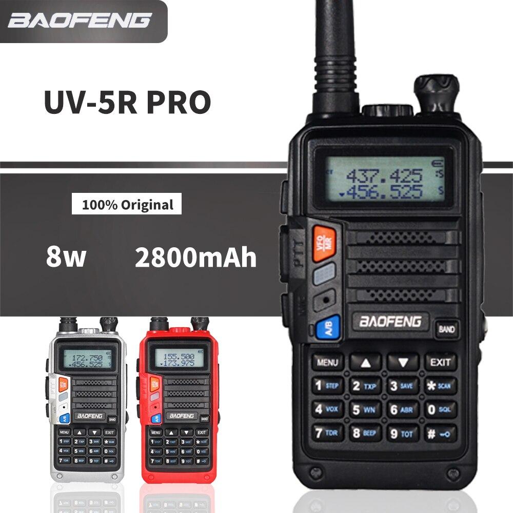 Baofeng UV-5R Pro Walkie Talkie 8W 2800mAh Interphone Dual Band FM Transmitter Portable CB Ham Radio UV5r Two Way Radio UV 5R