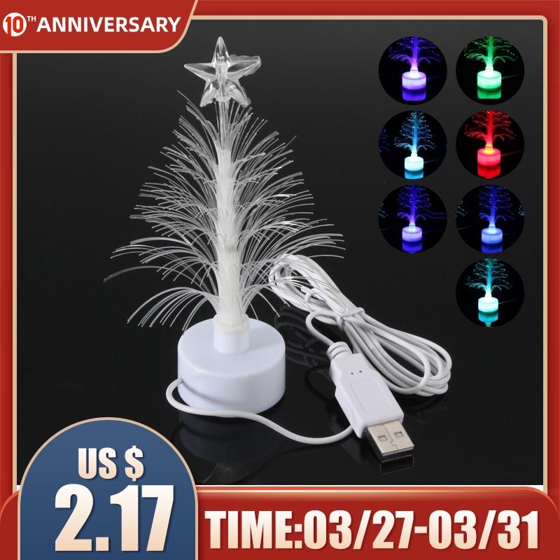 Smuxi Mini USB LED Night Light Color Changing Fiber Optical LED Light Christmas Tree Lamp Home Decor