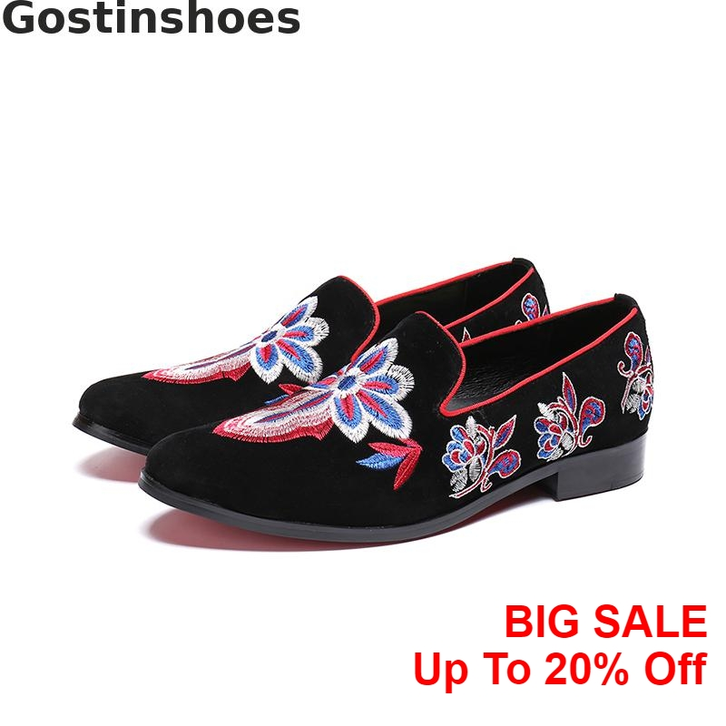 Fashion Men Casual Shoes Embroidered Genuine Leather Cow Suede Men Leisure Shoes Slip-on Low Heel Trendy Loafers