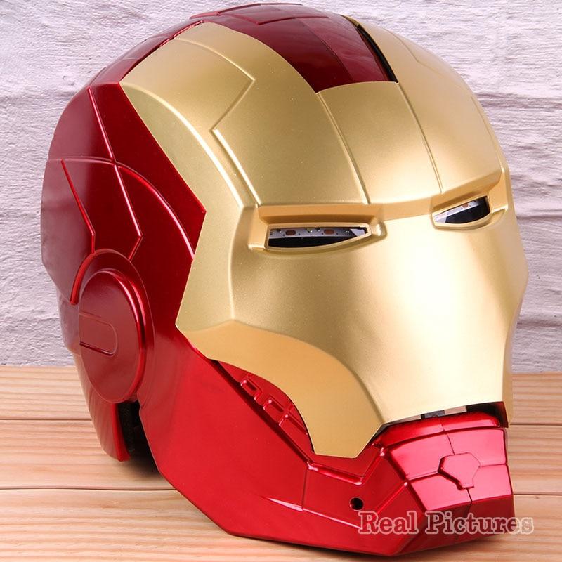 Avec lumière LED masque homme en fer 1:1 PVC à collectionner Cosplay Ironman casque figurine d'action yeux lumineux modèle Marvel jouet 22cm
