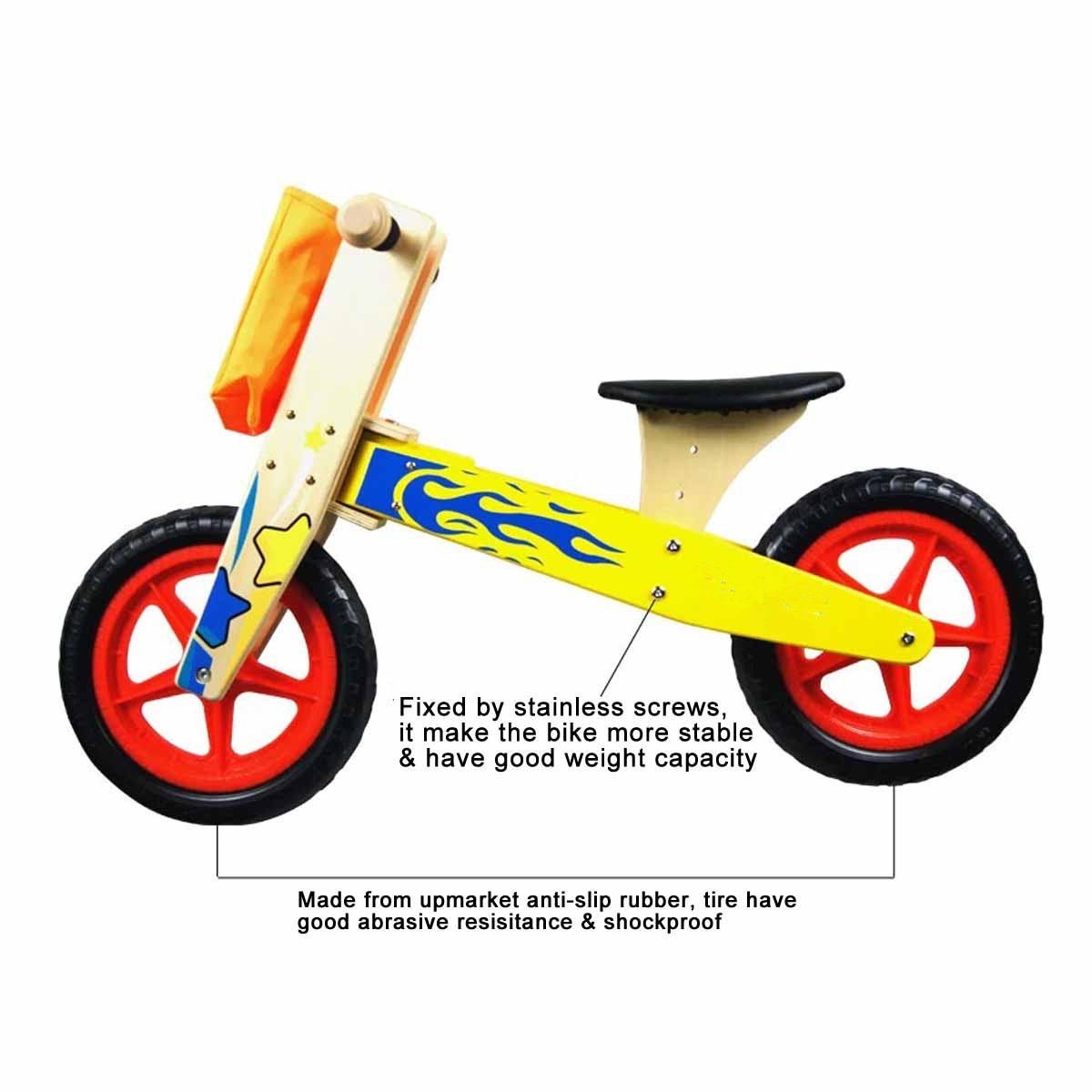 12 Inch Wooden Balance Bike Toddler No Pedals For 1 – 5 Year Old 2