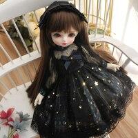 1/6 1/4 1/3 BJD dress + hair decoration black dress with stars for 1/6 YOSD 1/4 MSD 1/3 BJD Blyth doll dress doll accessories
