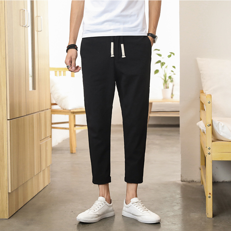 Men Capri Pants Casual Pants Men's 2019 Summer New Style Students Korean-style Slim Fit No Ironing Thin Men's Trousers Men's