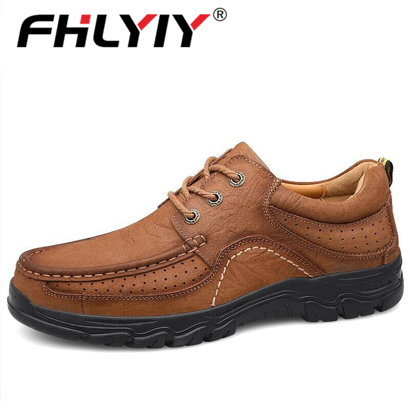 Fhlyiy Brand New Men'S Shoes 100% Genuine Leather Casual Shoes High Quality Work Shoes Cow Leather Loafers Sneakers Shoes Size47