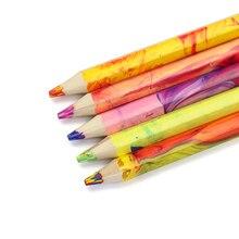 DEDEDEPRAISE 4-Color Thick Lead Pencils Erasable Wooden Multi-Colored Pencil Lapis De Cor Drawing Sketch Color Pencil Supplies