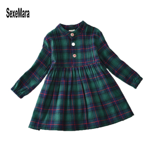 Autumn 2019 European Winter Dresses Casual Children Clothing Kids 2 3 To 8 9 10 12 Year Long Sleeve Black and Green Dress Girl(China)