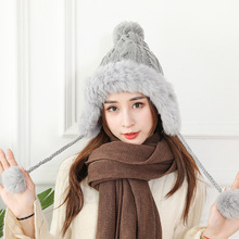 купить Fashion Winter Hats for Women Men Beains Caps Rabbit. Hip Hop Cap Gorros Female Three Pom Pom Hats for Femme Solid Color Hat дешево