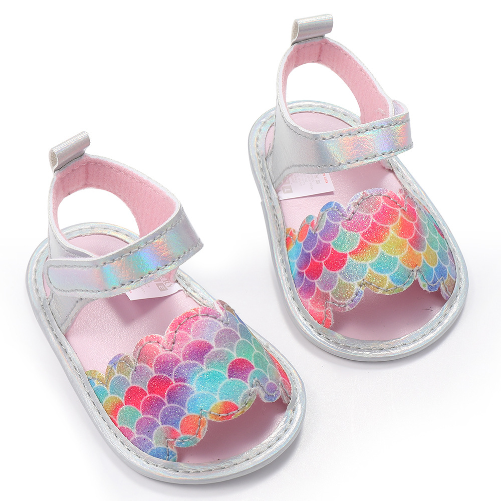 Mermaid New Summer Baby Girl's 3-6 Months Cartoon First Walkers Soft Sole Infant Toddler Crib Shoes Baby Girls Slippers