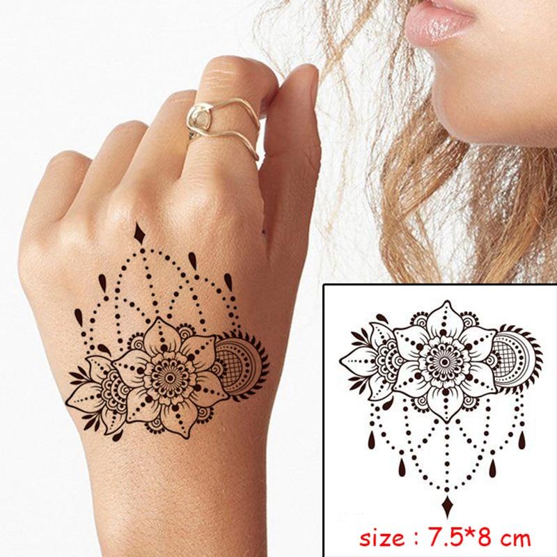Temporary Waterproof tattoo sticker mandala flower necklace pattern hand back fake tatoo water transfer flash body art tatto 2