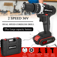 36V Multifunctional Impact Electric Cordless Drill Wireless Rechargeable Hand Drills Brush Motor Home DIY Electric Power Tools