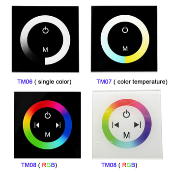 цена на DC12V-24V TM06 TM07 TM08 wall mounted single color/CT/RGB led Touch Panel Controller glass dimmer switch for LED Strip light