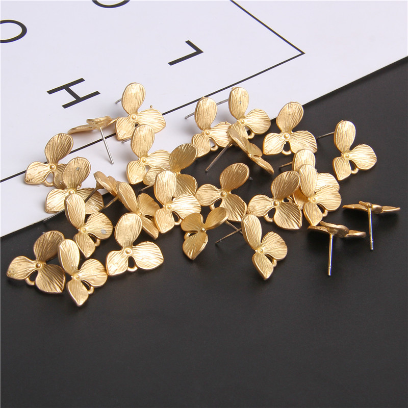 Zinc Alloy Golden Flowers Base Earrings Connector Charms 6pcs/lot For DIY Drop Earrings Jewelry Making Accessories 14*17mm