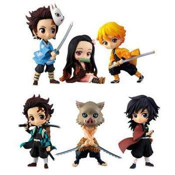 10cm Kamado Tanjirou Demon Slayer Kimetsu no Yaiba Tomioka Nezuko Agatsuma Zenitsu Hashibira Inosuke Kaigaku Action figure toys фото