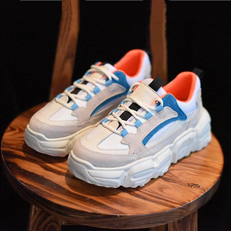 2020 New Sneakers Women's Fashion Genuine Leather Mesh Stitching Women's Shoes Spring Autumn Thick Bottom Lace-up Casual Shoes