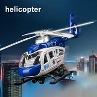 Realistic Police Helicopter Plane Pull Back LED Music Model Kids Toy Collection Helicopter Toy perfect gifts for children