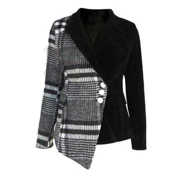 LANMREM 2020 new autumn and winter turn-down collar full sleeves wool patchwork velvet buttons high waist jacket WL07601XL