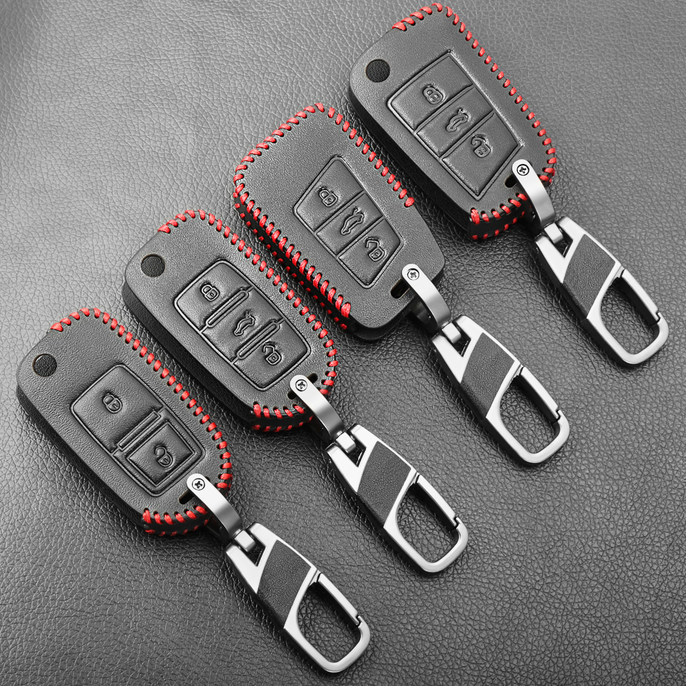 Etui clés de voiture en cuir pour VW Volkswagen Tiguan MK1 MK2 Magotan Passat B5 B8 Polo Golf 4 5 6 7 mk7 Jetta POLO Eos Scirocco