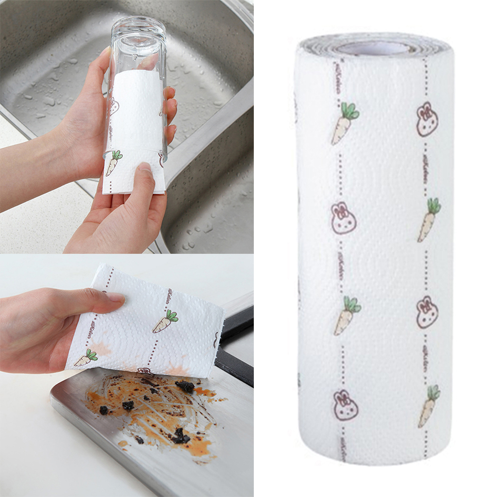 80 Sheet/Roll Cute Kitchen Oil Absorbing Paper Kitchen Absorbent Paper Dishcloth