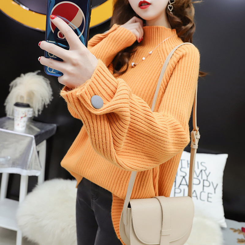 Autumn Winter Knitting Yellow Sweaters Women  Pullover 2019 Turtleneck Loose Sweaters Female Casual Knit Pullovers Lady Pullover