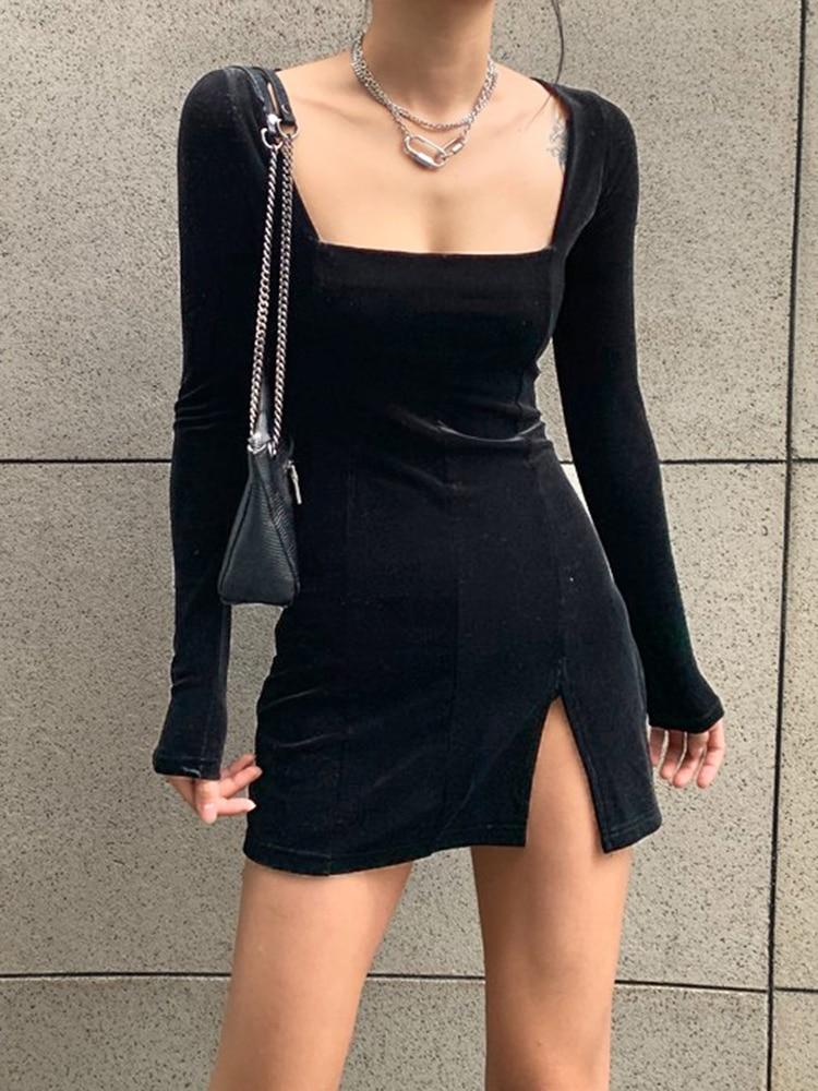 Gothic Dress Long-Sleeve Bodycon Velvet Women Elegent Autumn Winter Femme SUCHCUTE Modis