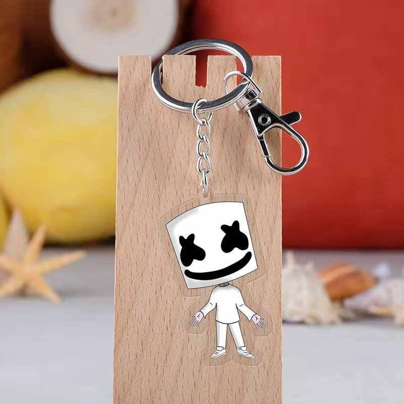 DJ Concert Marshmallow Keychains Music Fans Souvenir Smiley Face Gift Handmade Key Ring Holder Jewelry Women Kids Party Gift
