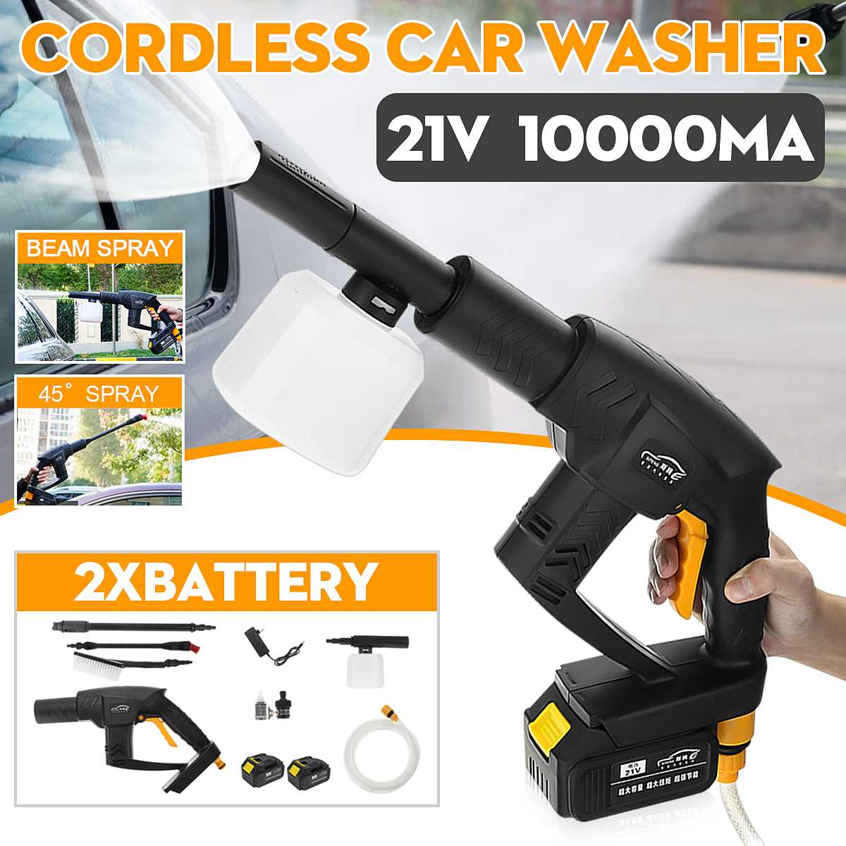 12pcs/set 21V Car Washer Cordless Rechargeable Car Washer 0.9Mpa High Pressure Hose Cleaner+ 2x10000mA Battery Washing Machine