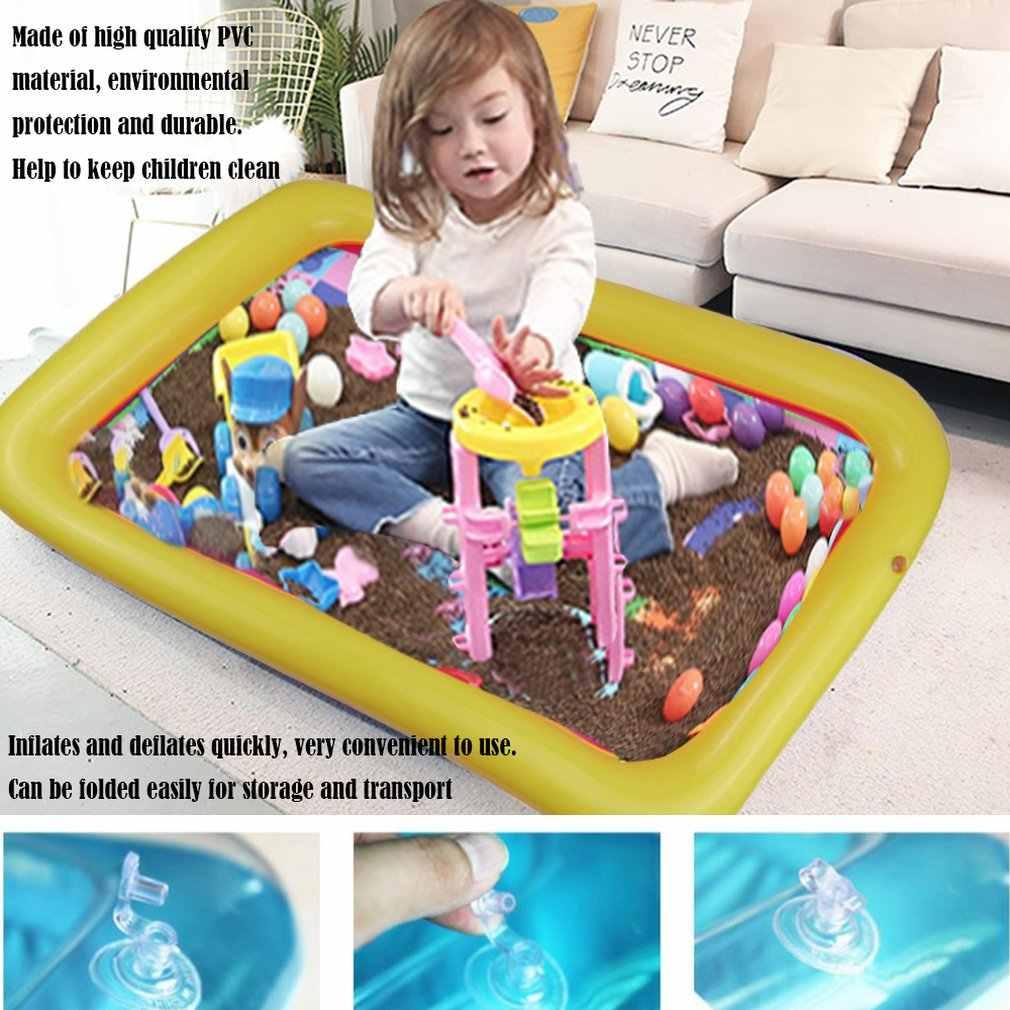 מתנפח חול מגש טירה נייד שולחן PVC ארגז חול חושי מגש מצחיק מקורה לשחק צעצועי בריכת מגש לילדים
