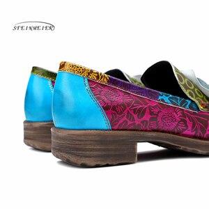 Image 5 - Las mujeres de cuero genuino oxford casual vintage Retro de la mujer, pisos zapatos hechos a mano zapatos de oxford para las mujeres de la primavera de 2020