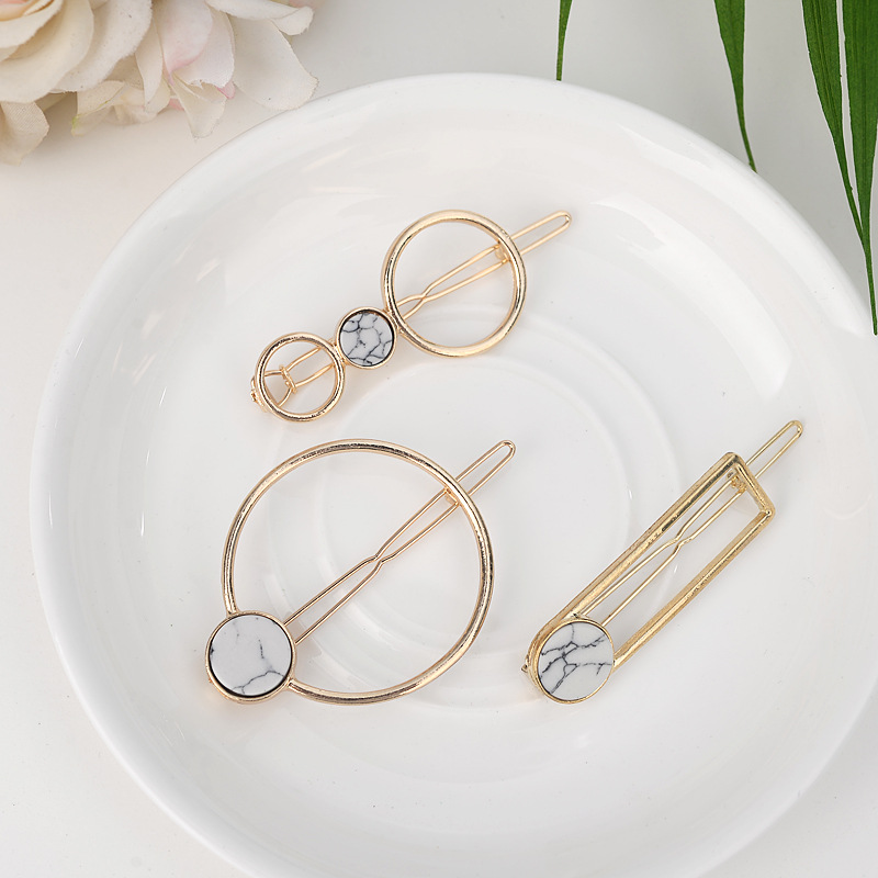 Retro Metal Circle Square Hairpins For Girls Natural Stone Hair Clip Barrettes Wedding Hair Clips For Woman's Accessories