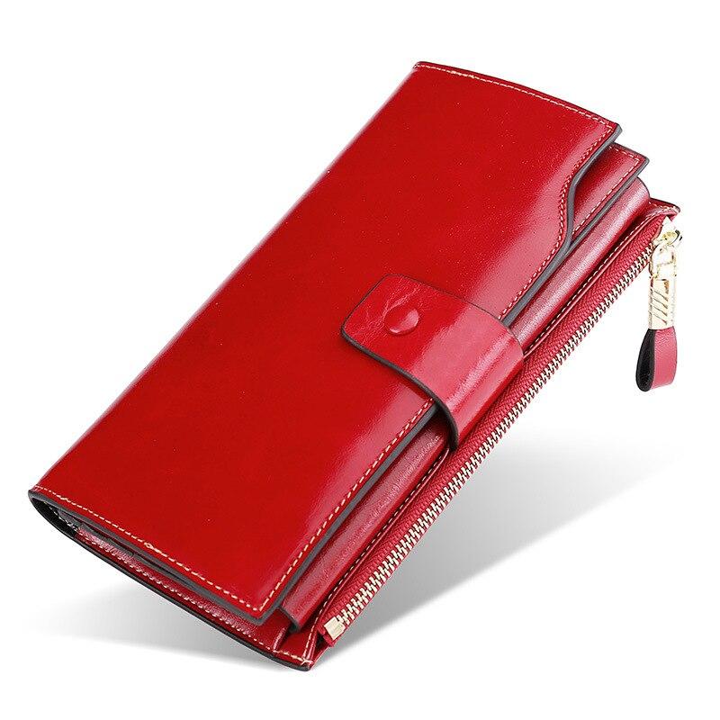 Women Clutch Wallet Genuine Leather Female Long Wallet Women Zipper Purse Ladies Strap Money Bag Purse For Phone Bags