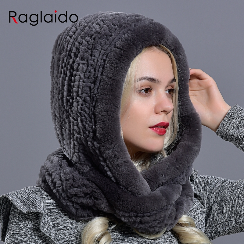 Rabbit Fur Hood Volume Hats For Women Winter Warm Novelty Knitted Fur Scarf Hat Stylish Fashionable Genuine Large Female Fur Hat