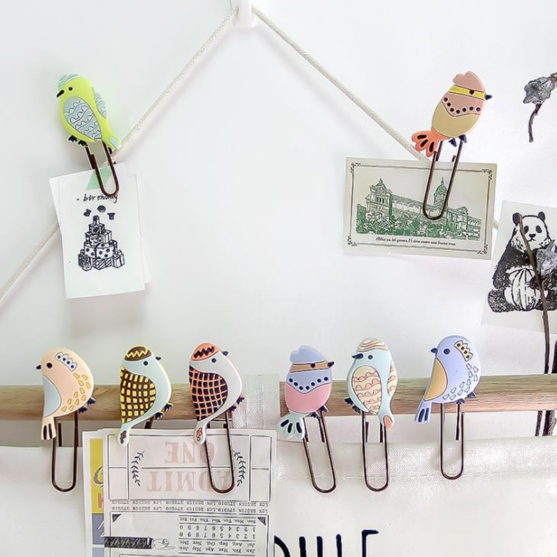 4 Pcs/pack Cartoon Animal Bird PVC Paper Clips Bookmark Photo Memo Binder Clips Gift Stationery School Office Escolar Papelaria