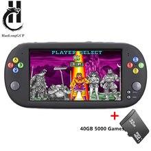 Atualização x16 portátil 7 polegada console de jogos de vídeo da tela 40gb com 5000 jogos livres 8/16/32/128 bit para jogos mame md smc da arcada ps1